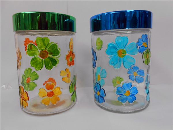花朵手绘玻璃罐